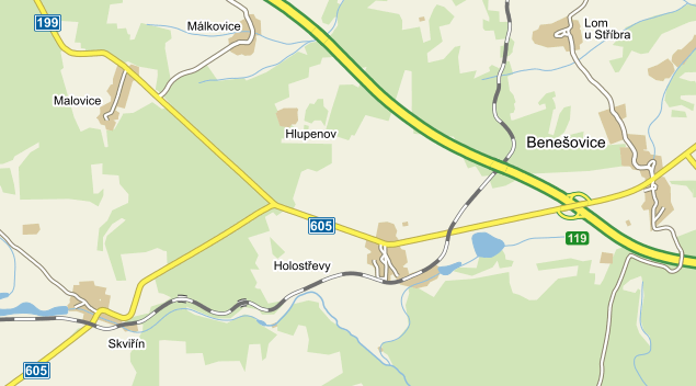 Holostřevy na mapě