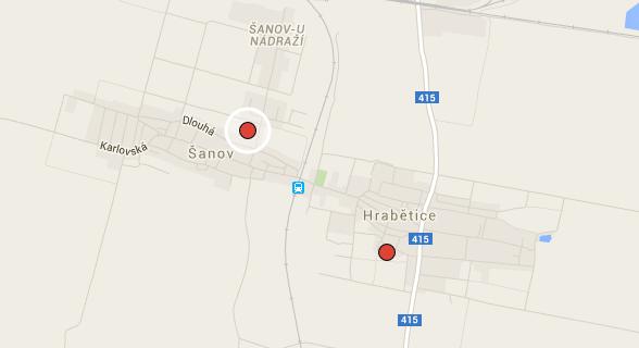 Šanov a Hrabětice na mapě