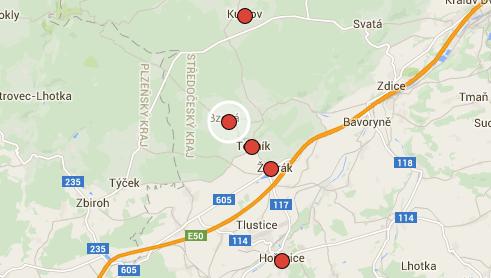 Točník, Kublov, Bzová a Hořovice