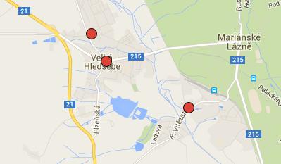 Klimentov, Velká Hleďsebe a Hamrníky na mapě